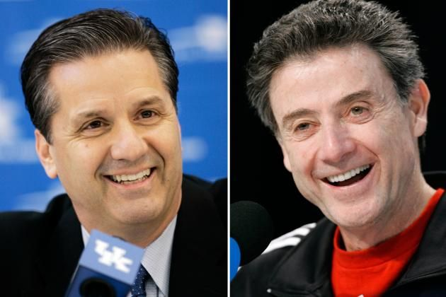 Left: Kentucky head coach John Calipari and right: Louisville head coach Rick Pitino speak to the media earlier in the 2013 campaign