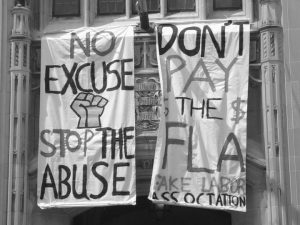 There have been several student protests over fair labor for clothing calling the Free Labor Association the Fake Labor Association.