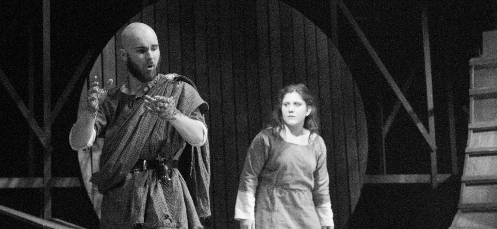 Juniors Olivia Kernekin and Daniel Rundberg in DramaCentre's production of Macbeth, which ran April 23-26 in Weisiger Theatre.