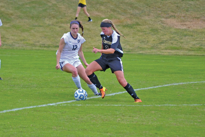 Senior forward Anne Mitchell moves past a defender during action earlier this season. She leads the team in goals, assists, and total points