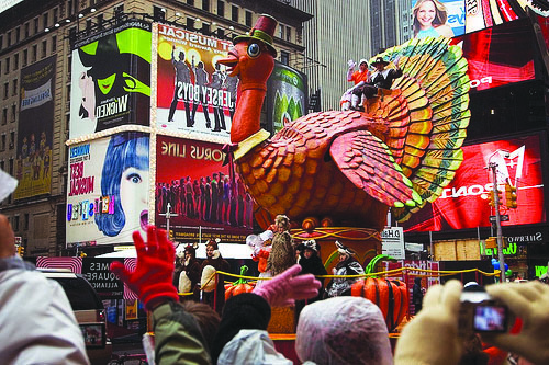Watching the Macy's Day Parade on Thanksgiving Day is a common tradition that many students, like first-year Ellen Stephan, participate in.