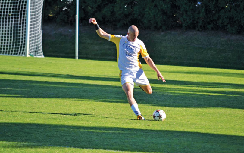 Senior defender Jeremy Carlson clears a ball from the back line. He has been named the SAA Defensive Player of the Week twice this season.