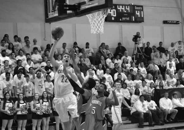 Junior forward Blake Scinta goes up for a contested layup during last years NCAA tournament contest against LaGrange University.
