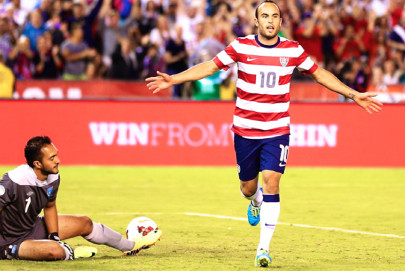 Landon Donovan celebrates after scoring his 50th international goal against Guatemala in 2013. Donovan leads U.S. strikers with 57 career goals