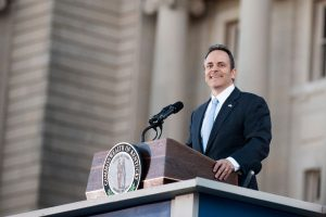 Gov. Matt Bevin addresses a crowd at his public inauguration at the Capitol.