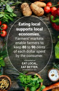 One of the local foods campaign posters, designed by senior Elle Enander.