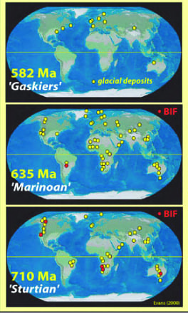 Figure 2: Global Distribution of Glacial Deposits between 710 ma and 582 ma