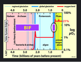 Figure 3: Distribution of banded iron formations (BIFs) and their  temporal relation to glacial epocs.