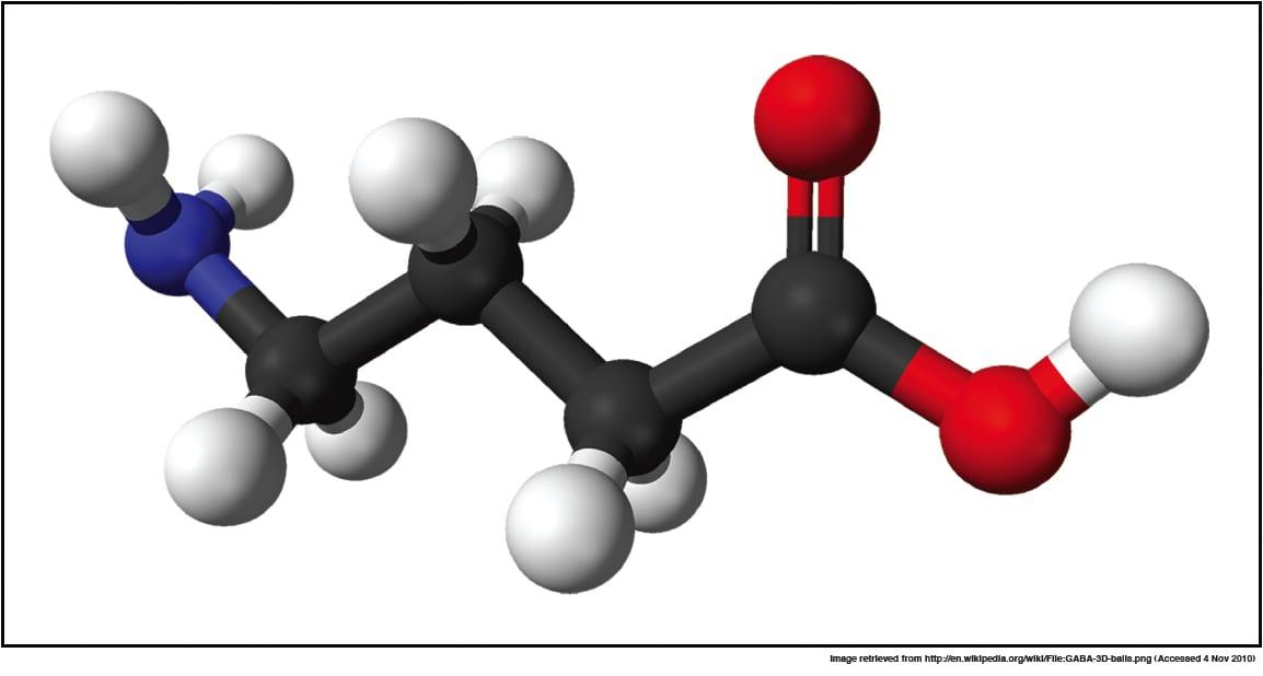 Ball-and-stick model of the gamma-aminobutyric acid (GABA) molecule