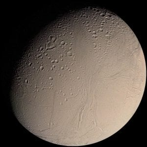 Enceladus, photographed by Voyager 1 in 1981. Source: Wikimedia Commons, Credit: NASA.