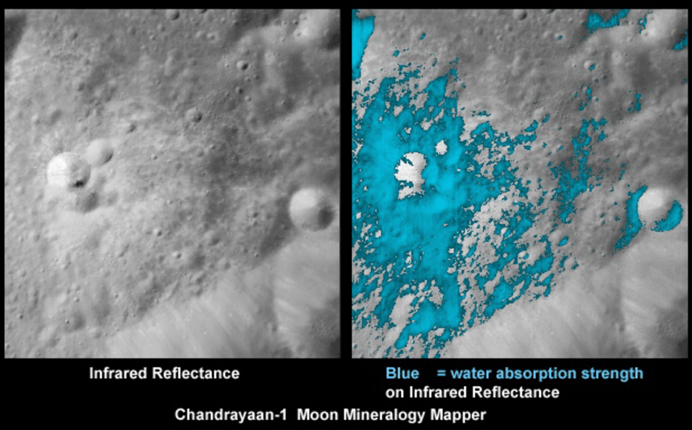 The Moon Mineralogy Mapper () located on India's Chandrayaan-1 took infrared reflectance measurements of the Moon, allowing researchers from Brown University to develop a global map showing the amount of water throughout the lunar soil. (Source: Wikimedia Commons)