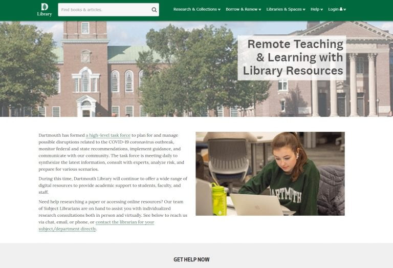 🔖 Remote Teaching & Learning with Dartmouth Library Resources