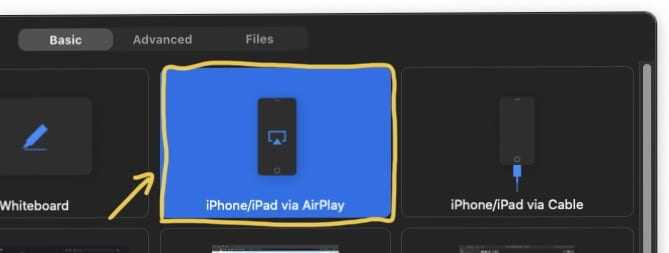 Choose the option to share your iOS device (iPhone or iPad) via AirPlay.