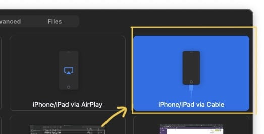 Select the on-screen option to share your iPhone/iPad via Cable.