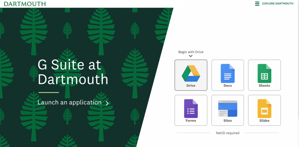 1. Access your Dartmouth account's Google Drive from google.dartmouth.edu. Click on the Google Drive logo from the home page.