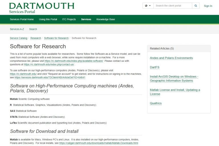 🔖 Remote Software for Research at Dartmouth