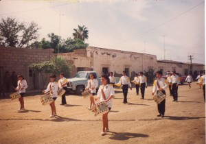 Pedro in his school's marching band parade.
