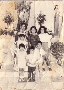 Pedro & family: mom; his sisters Consuelo, Pinky, Ana Louisa, Susi; Pedro & his brother Teodoro.  This is the family as they were raised while their dad was in AZ.