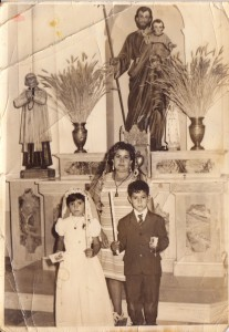 Pedro's mom at his sister's and brother's (Susi and Teodoro) First Communion.  You can see that religion was/is a big part of his upbringing.