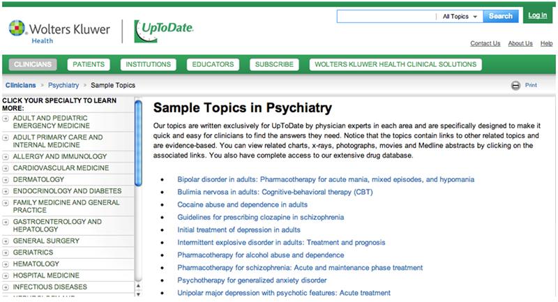 UpToDate Psychiatry