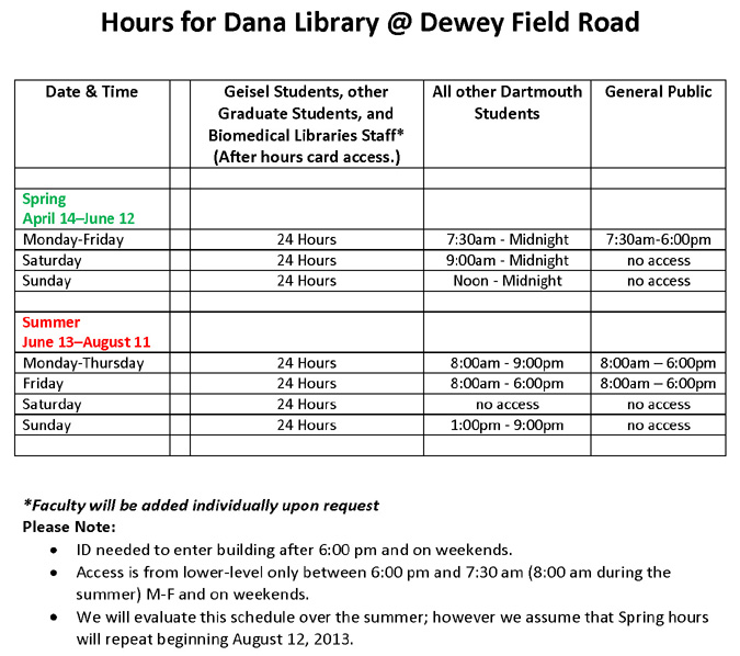 New Dana Library Hours