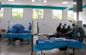 Doctors in scrubs working in clinic