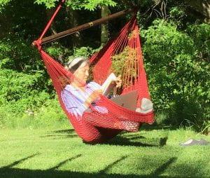 Reading on a hamock