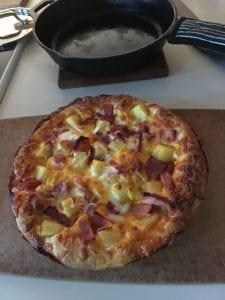 homemade ham and pineapple pizza