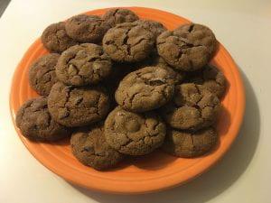 Homemade cookies on an orange plate