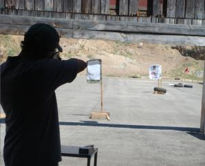 Sebastian at a shooting range in Israel