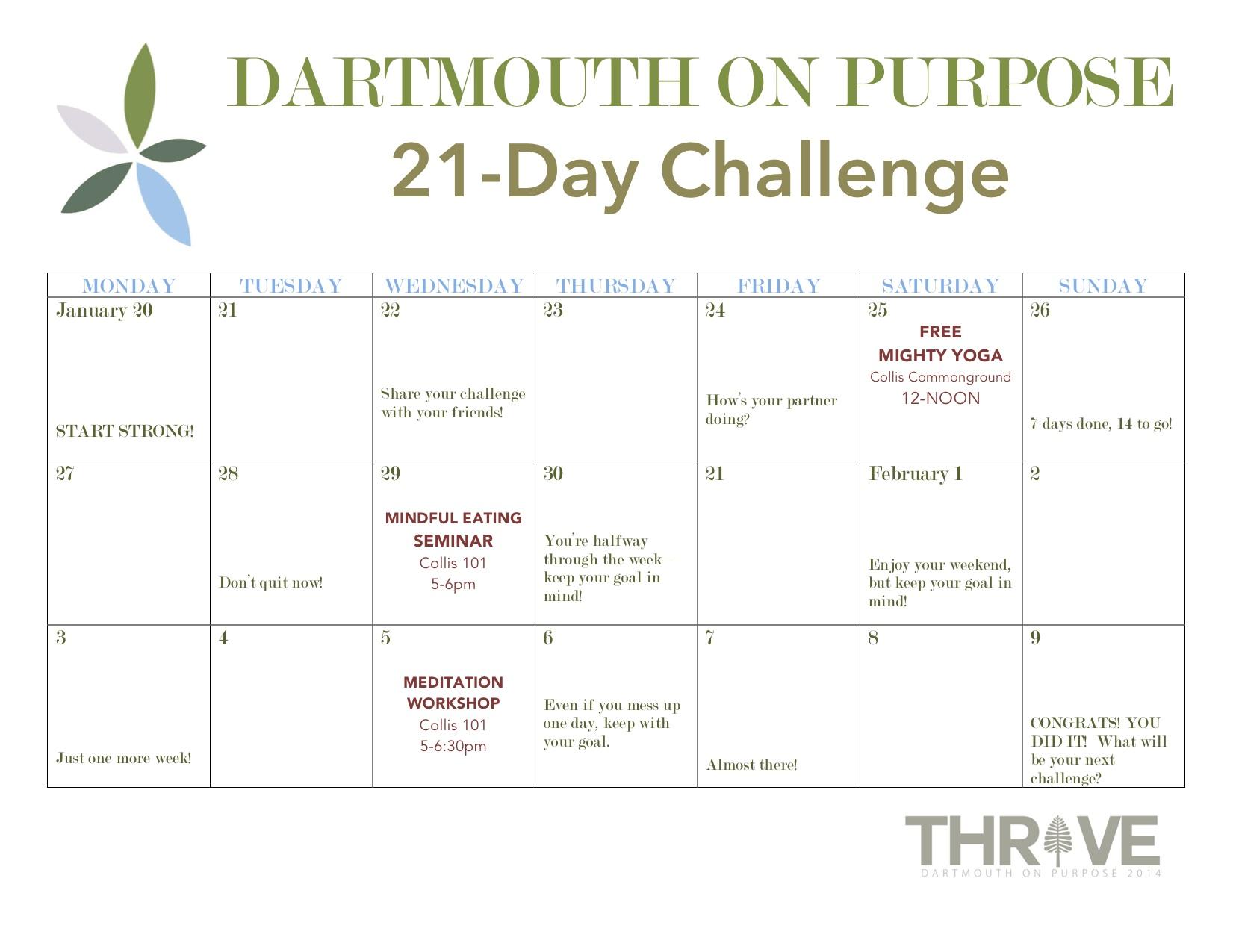 21 Day Challenge Calendar