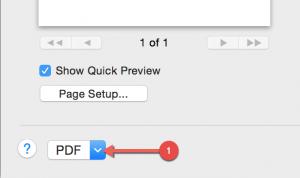 Print Option in Mac print menu