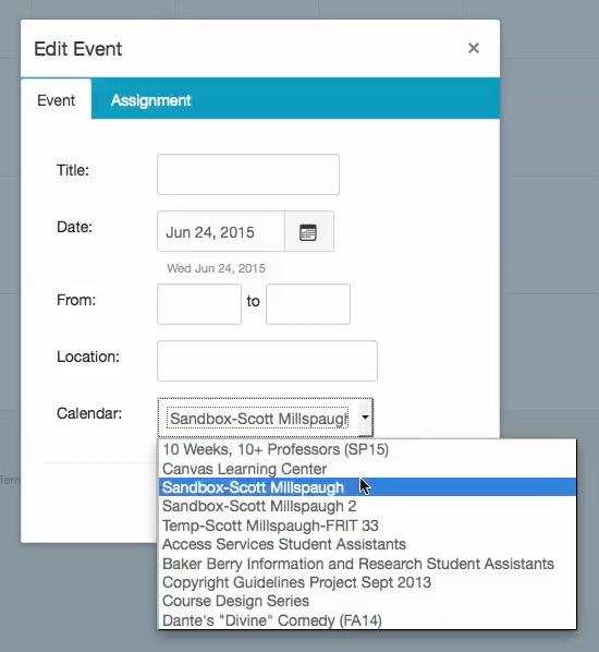 Create an Event Using the Canvas Calendar