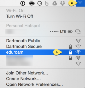 eduroam network from the mac wireless dropdown