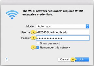 Logging into eduroam on a Mac using your Dartmouth NetID and NetID password.