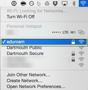 Mac wireless showing you are connected to eduroam.