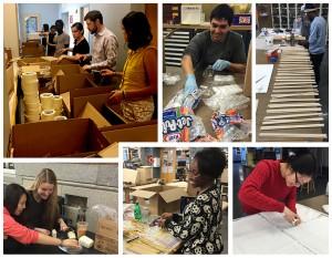 TAs and Thayer staff help put together the Activity Kits, brainchild of Jared Benedict.