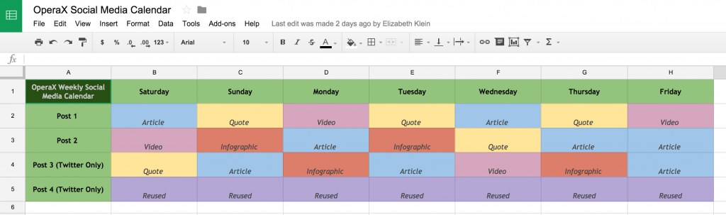 Click here to open the OperaX Social Media Calendar example in a new window. Feel free to make a copy via GoogleDocs!
