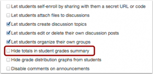 Check Hide Totals in Student Grades Summary display