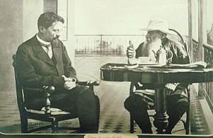 Anton Chekhov and Leo Tolstoy, photograph, 1901
