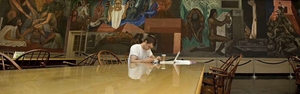 Student studying in the Orozco Room in Baker Library.