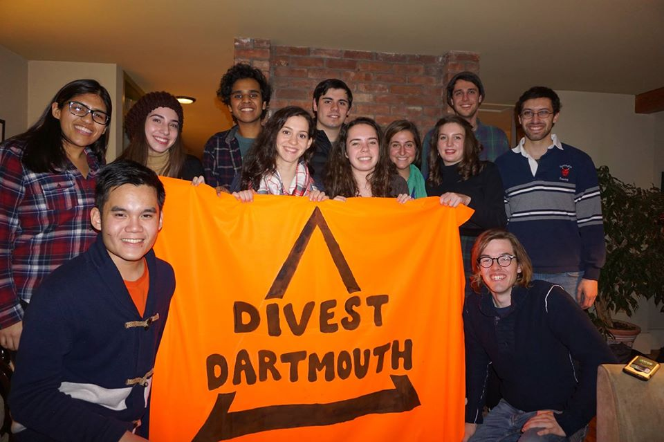 The fossil fuel divestment campaign at Dartmouth.