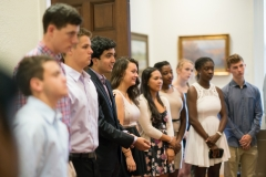 Students participate in matriculation. Groups from dorms go to Parkhurst where they sign the Dartmouth Citizenship Pledge then attend an intimate talk with Phil Hanlon in his office prior to shaking his hand. Then students go to Blunt to meet representatives from the class of 1970 and get their class pin.