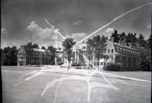 The Tuck School campus. Many of the negatives show similar damage.