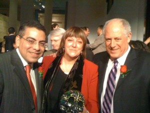 Alejandra with Chairman of the Illinois Board of Education Jesse Ruiz (left) and Illinois Governor Pat Quinn (right)
