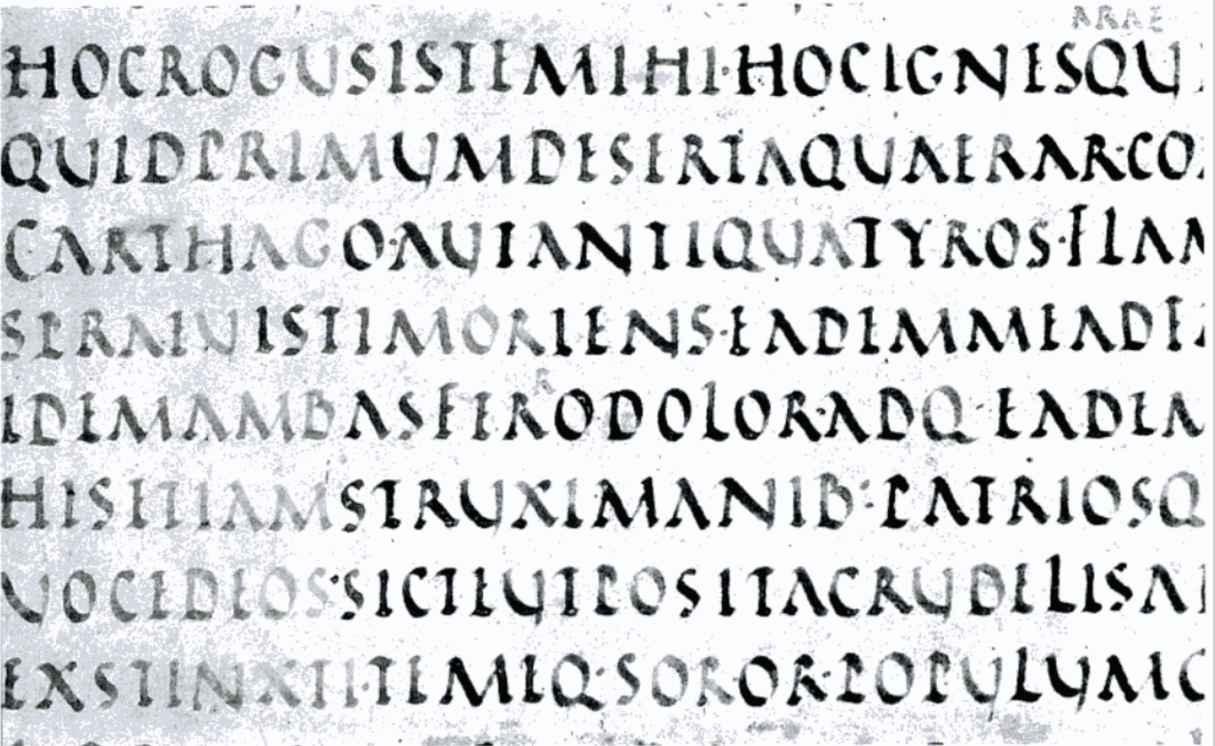Aen. 4.676-82, from the Vergilius Vaticanus. The rustic capitals of the text fit between two lines. Photo: David H. Wright, The Vatican Virgil: A Masterpiece of Late Antique Art.