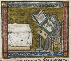 A scribe at work, from an illuminated manuscript from the Estoire del Saint Graal, France (Royal MS 14 E III c. 1315 – 1325. Courtesy of http://britishlibrary.typepad.co.uk/)