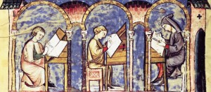 An illumination depicting a scriptorium in action, from a manuscript in the Biblioteca de San Lorenzo de El Escorial, Madrid, Spain, c. 14th century AD (Courtesy of medievalfragments.wordpress.com)