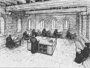 A depiction of a monastery's scriptorium, the isolated workshop the scribes would work in. (Courtesy of Horn et al, http://www.jstor.org/stable/20169021)