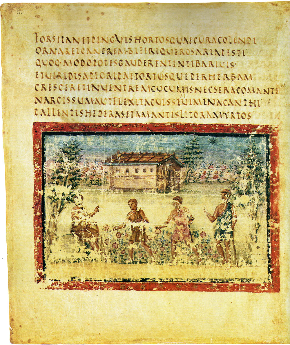 Landscape from the Vergilius Vaticanus. The landscape depicted is more realistic and closer to classical landscapes than that of the mosaic below. Photo: www.codex99.com